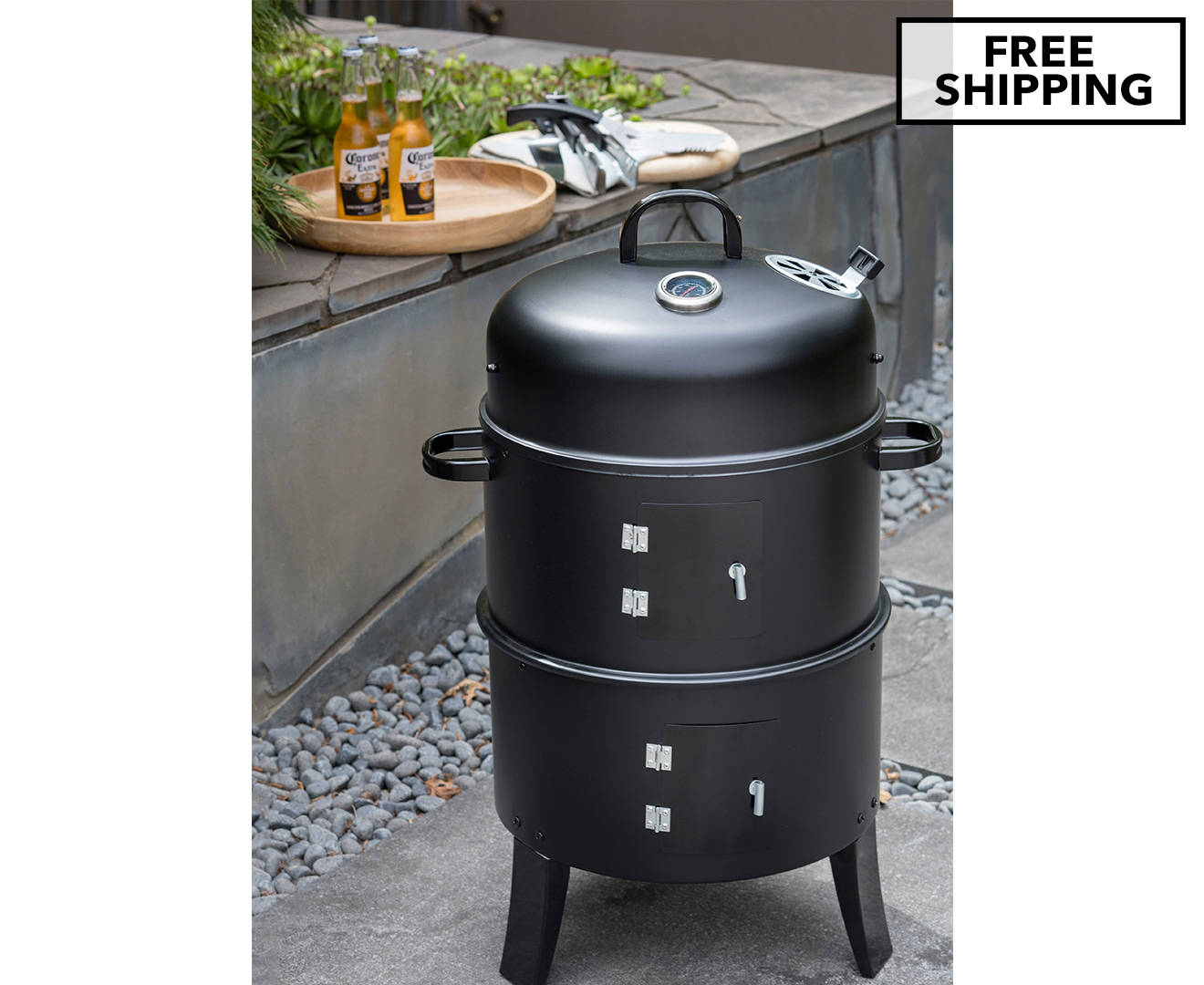 charmate 3 in 1 charcoal bbq smoker ebay. Black Bedroom Furniture Sets. Home Design Ideas