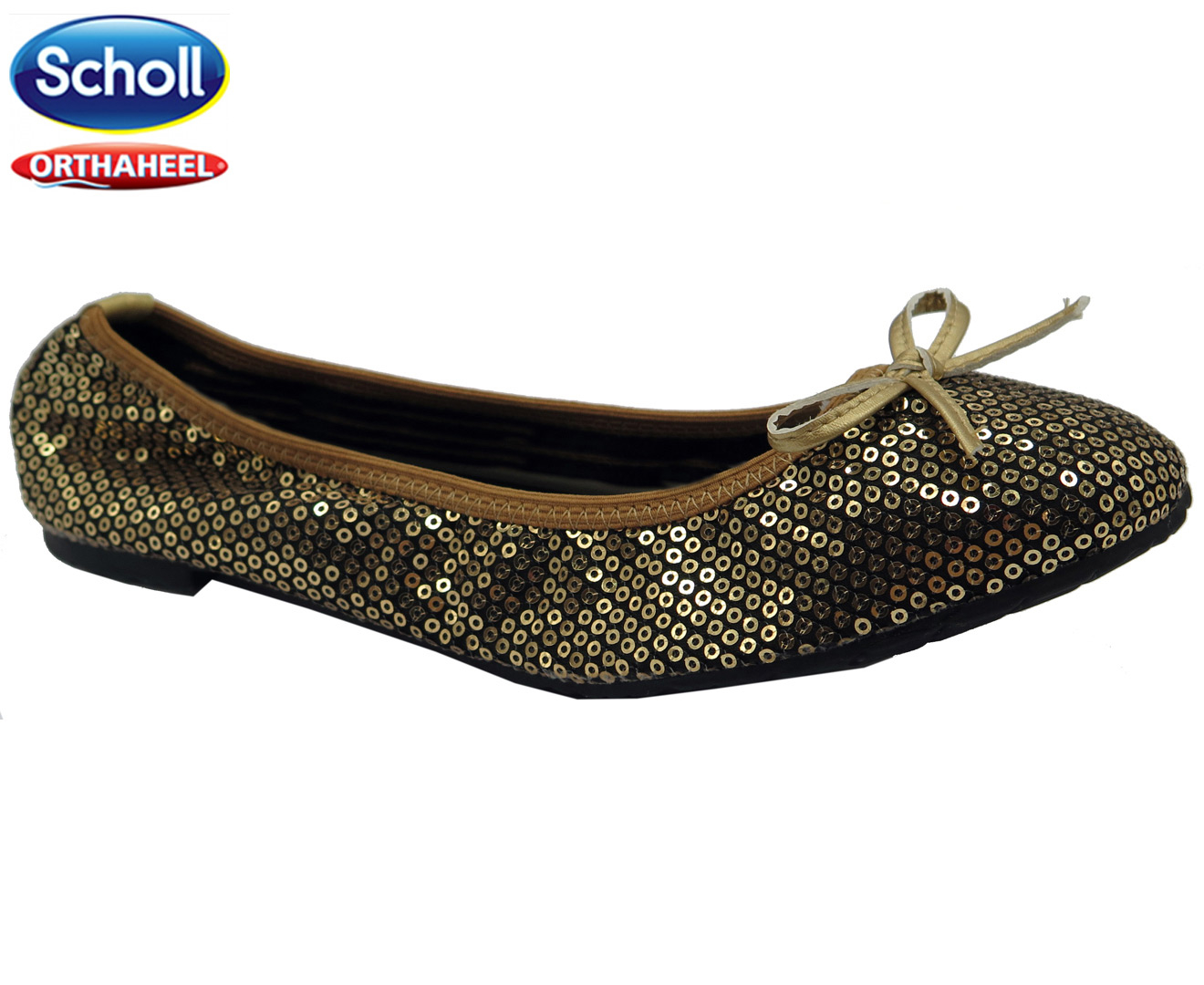 Scholl Gold Pocket Ballerina Women's Flat Sequin 7fgybY6v