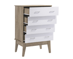 Scandinavian Tallboy 4 Chest of Drawers Storage Cabinet - Oak 3