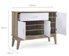 Extra Large Shoe Cabinet Storage Scandinavian - Oak 3