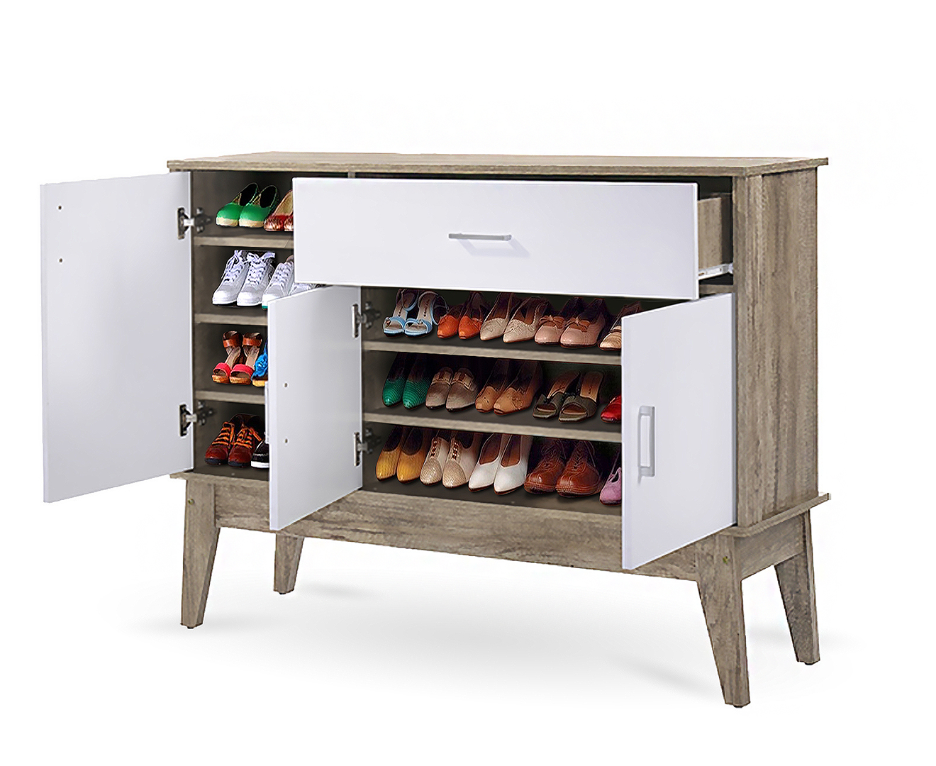 Extra Large Shoe Cabinet Storage Scandinavian Oak