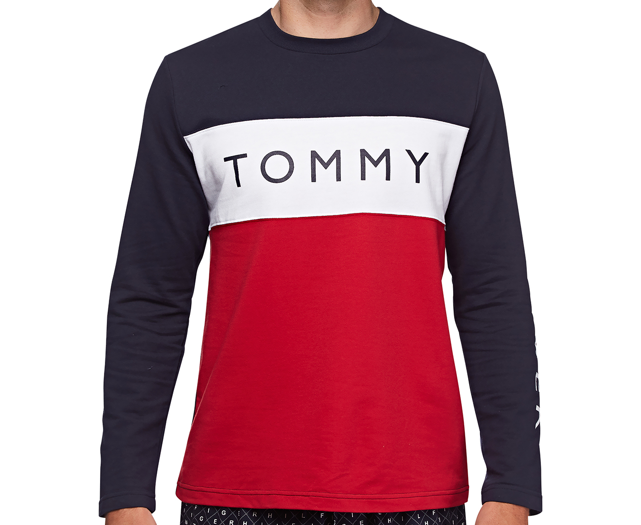 a678f42e Tommy Hilfiger Men's French Terry Jumper - Dark Navy/Red | Catch.com.au