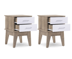 2X Bedside Table Cabinet Nightstand Scandinavian - Oak 1