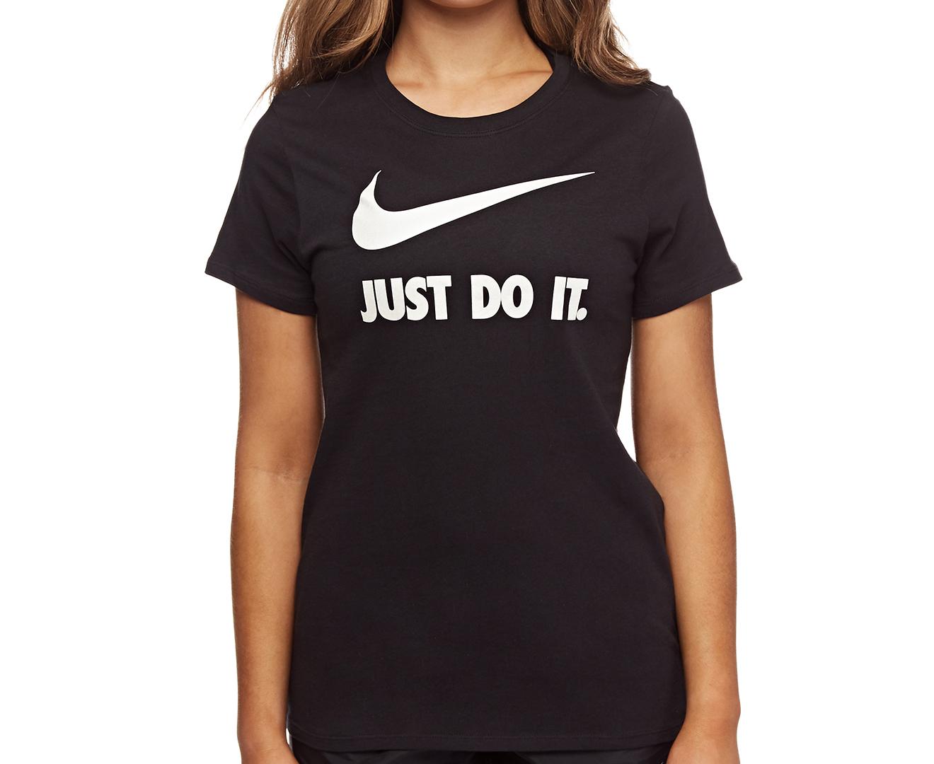 Nike women 39 s just do it swoosh crew tee black white for Nike just do it t shirt women s