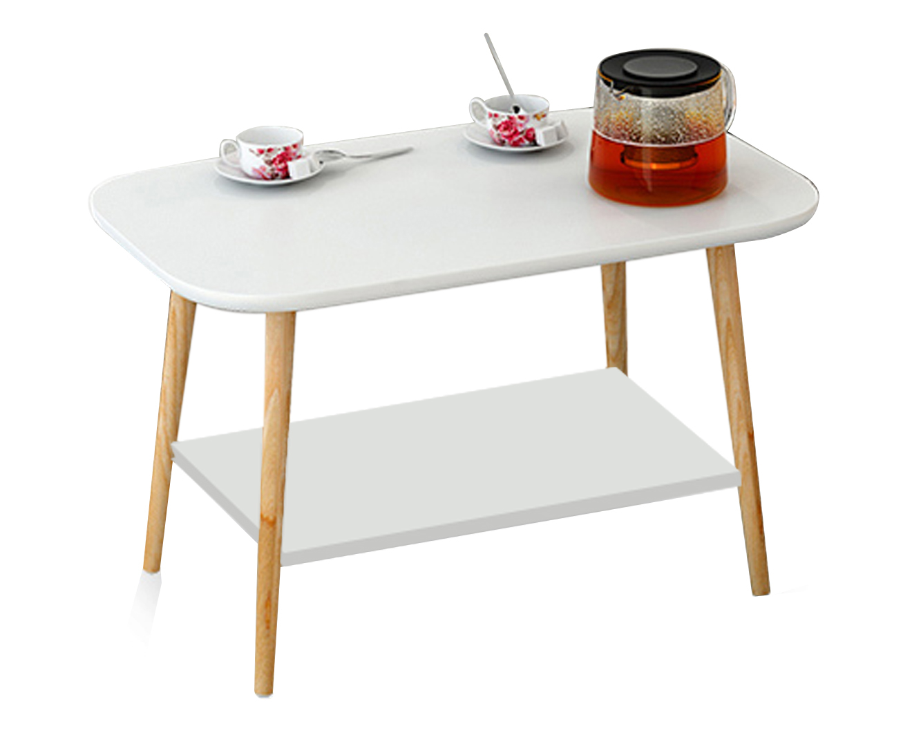 Modern style coffee table wooden top storage white two for 60s style coffee table