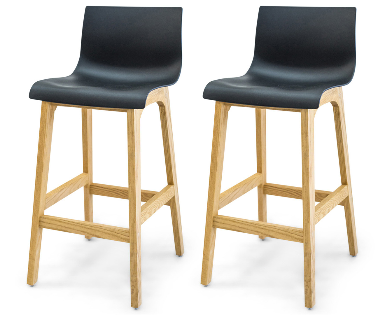 Set Of 2 Cabe 91cm Oak Bar Stool Black Natural Great