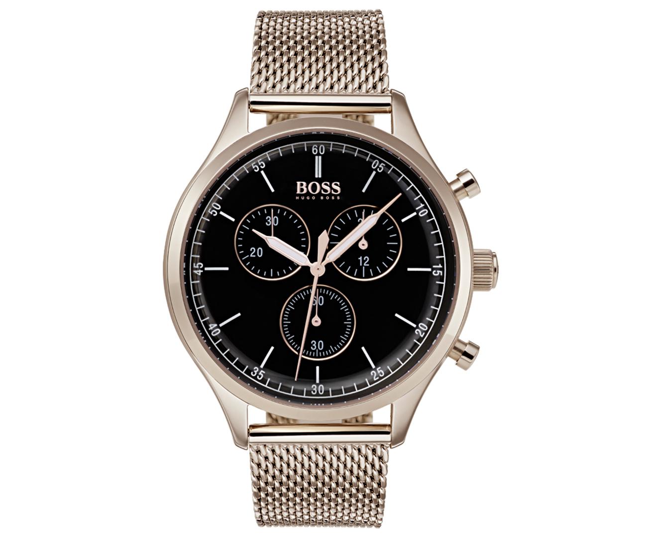 Hugo Boss Men S 43mm Companion Chronograph Mesh Watch Black Rose