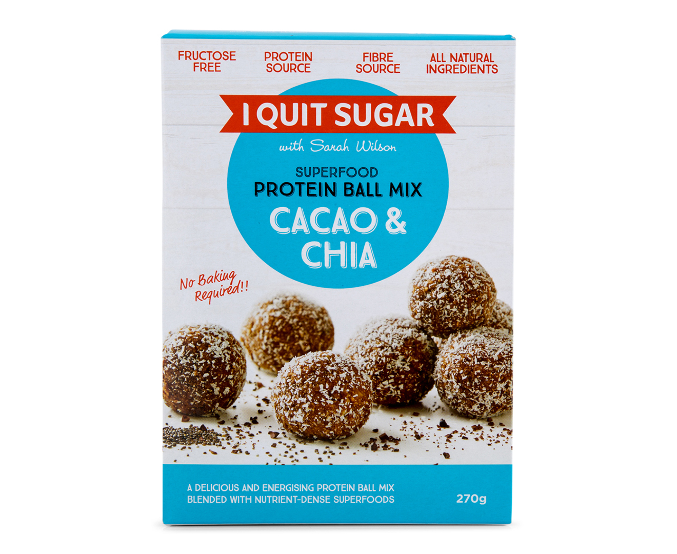 2 X I Quit Sugar Superfood Protein Ball Mix Cacao Chia 270g Catch Com Au