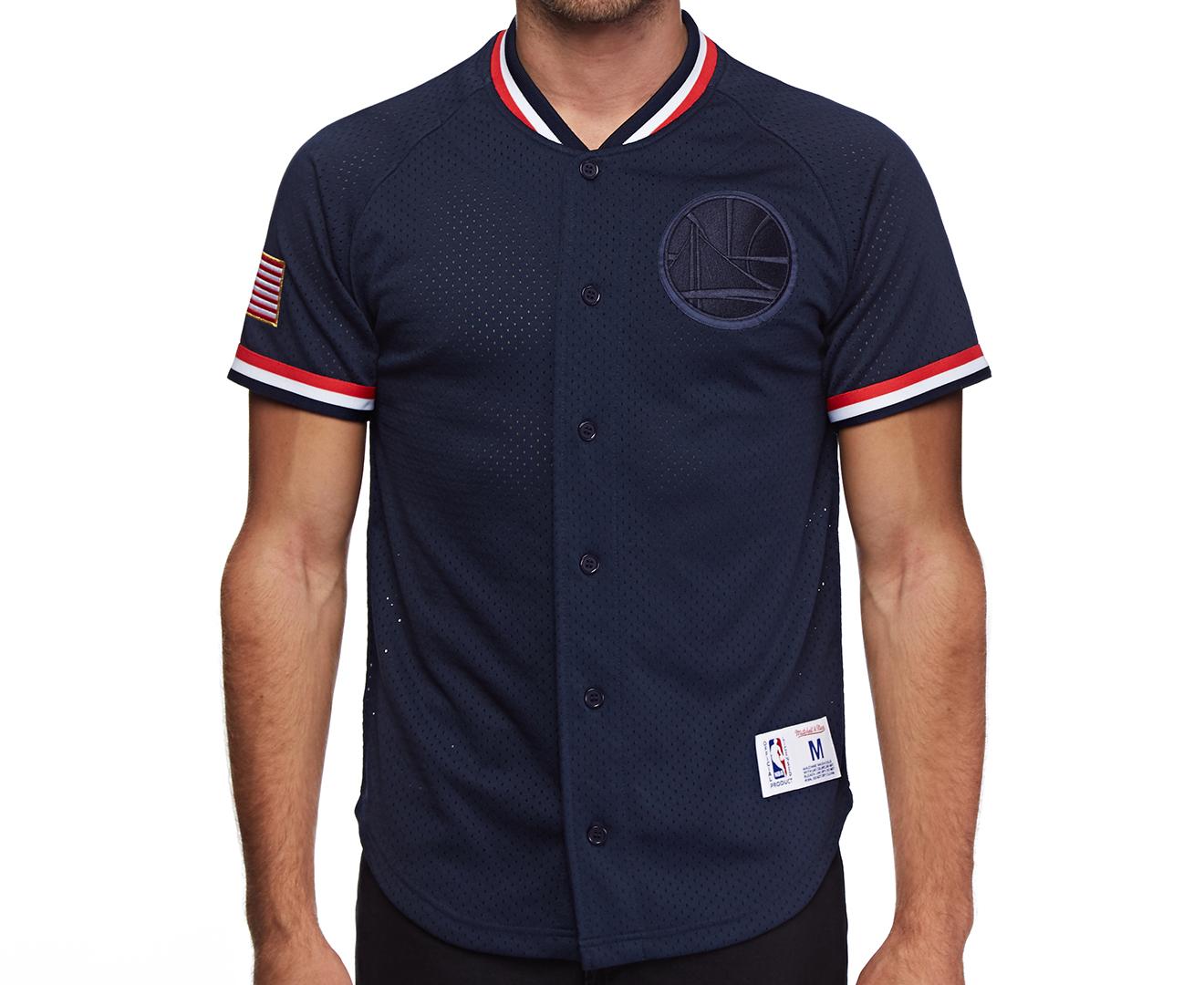 Mitchell   Ness Men s Golden State Warriors Seasoned Pro Mesh Button Front  Shirt - Navy  09583698e