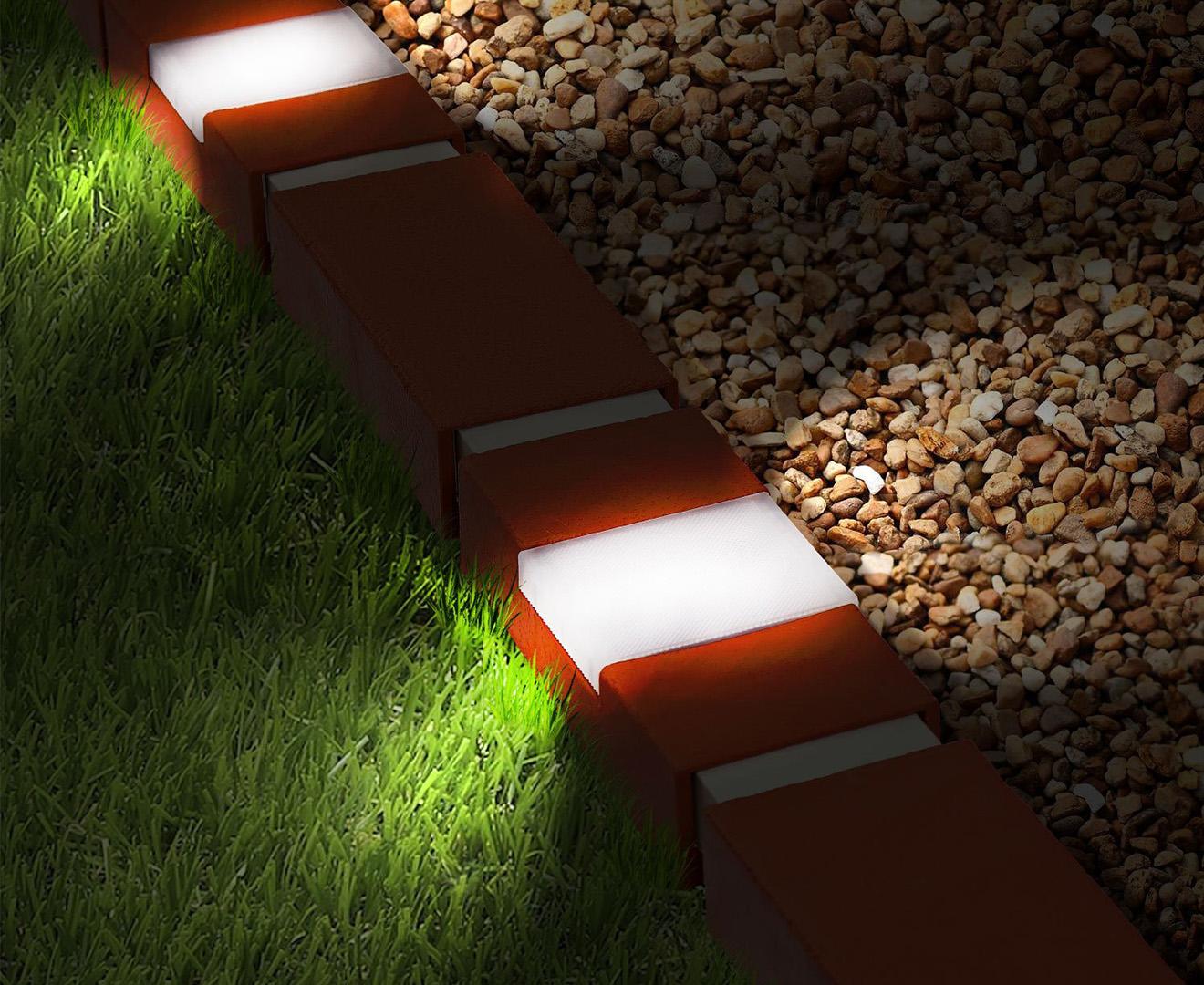 Botanica Brick Effect Garden Edging W Solar Lights 10