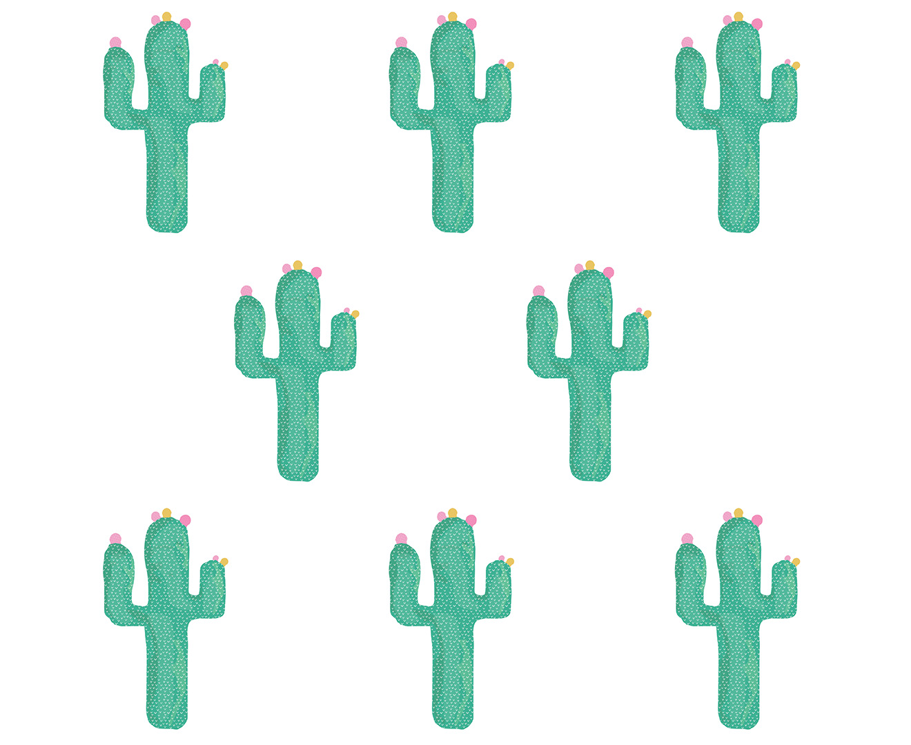 Set of 28 Wall Sticker Nursery Kids Home  MS226VC Pattern Green Cactus