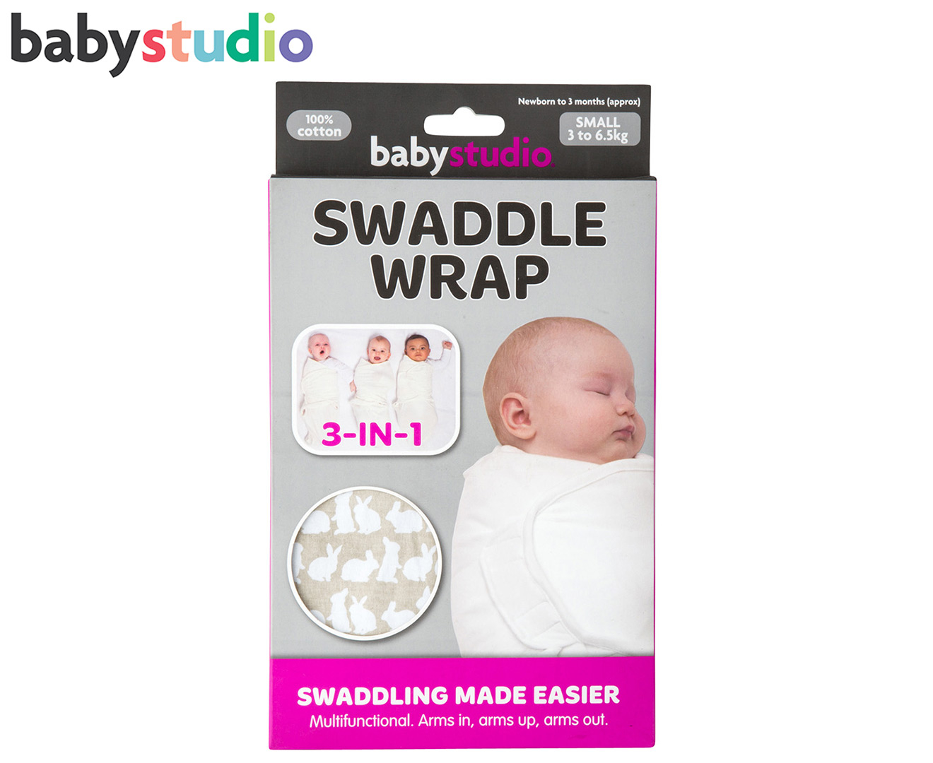 Baby Studio 3 6 5kg Small Cotton Swaddle Wrap Bunny Grey Catch