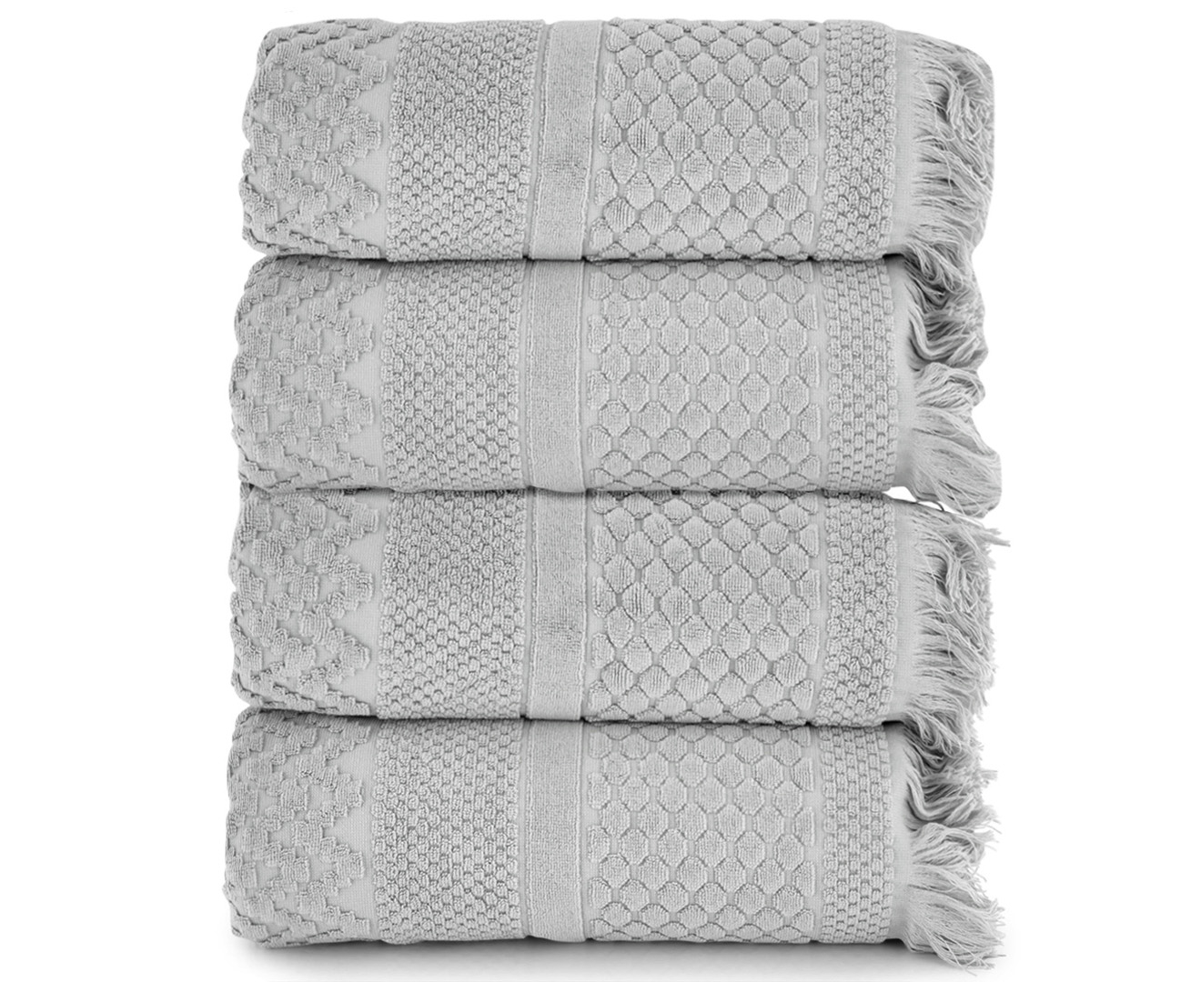 Luxury Living Soho 800gsm Bath Towel 4 Pack Silver