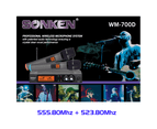 Sonken 700D-5 Pro UHF Wireless Microphones (2) and Receiver Unit + Case 4
