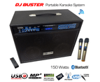 Sonken DJ Buster Portable Karaoke System (CD+G / DVD / MP3+G) + 2 Wireless Mics + Bluetooth 1