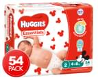 Huggies Essentials Nappies Infant Size 2 4-8kg Nappies 54pk 1