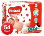 Huggies Essentials Nappies Infant Size 2 4-8kg Nappies 54pk 1