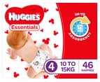 Huggies Essentials Nappies Toddler Size 4 10-15kg Nappies 46pk 2