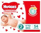 Huggies Essentials Nappies Infant Size 2 4-8kg Nappies 54pk 2