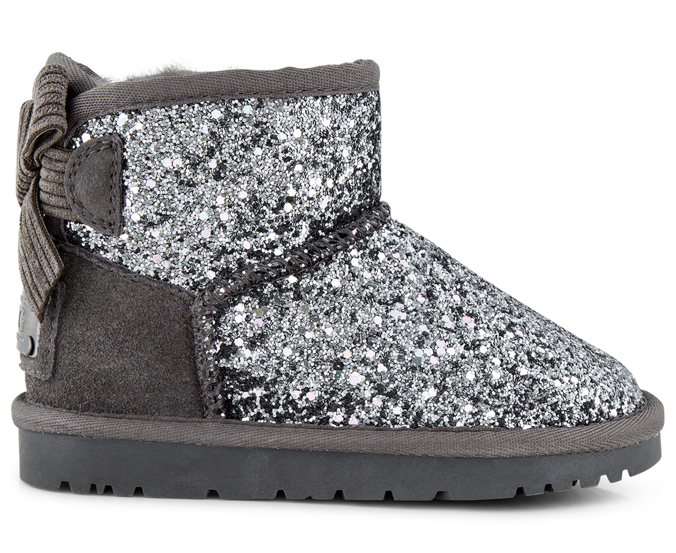 d00bb1f2e7c OZWEAR Connection Girls' Bailey Corduroy Bow Sparkling Ugg Boot - Charcoal