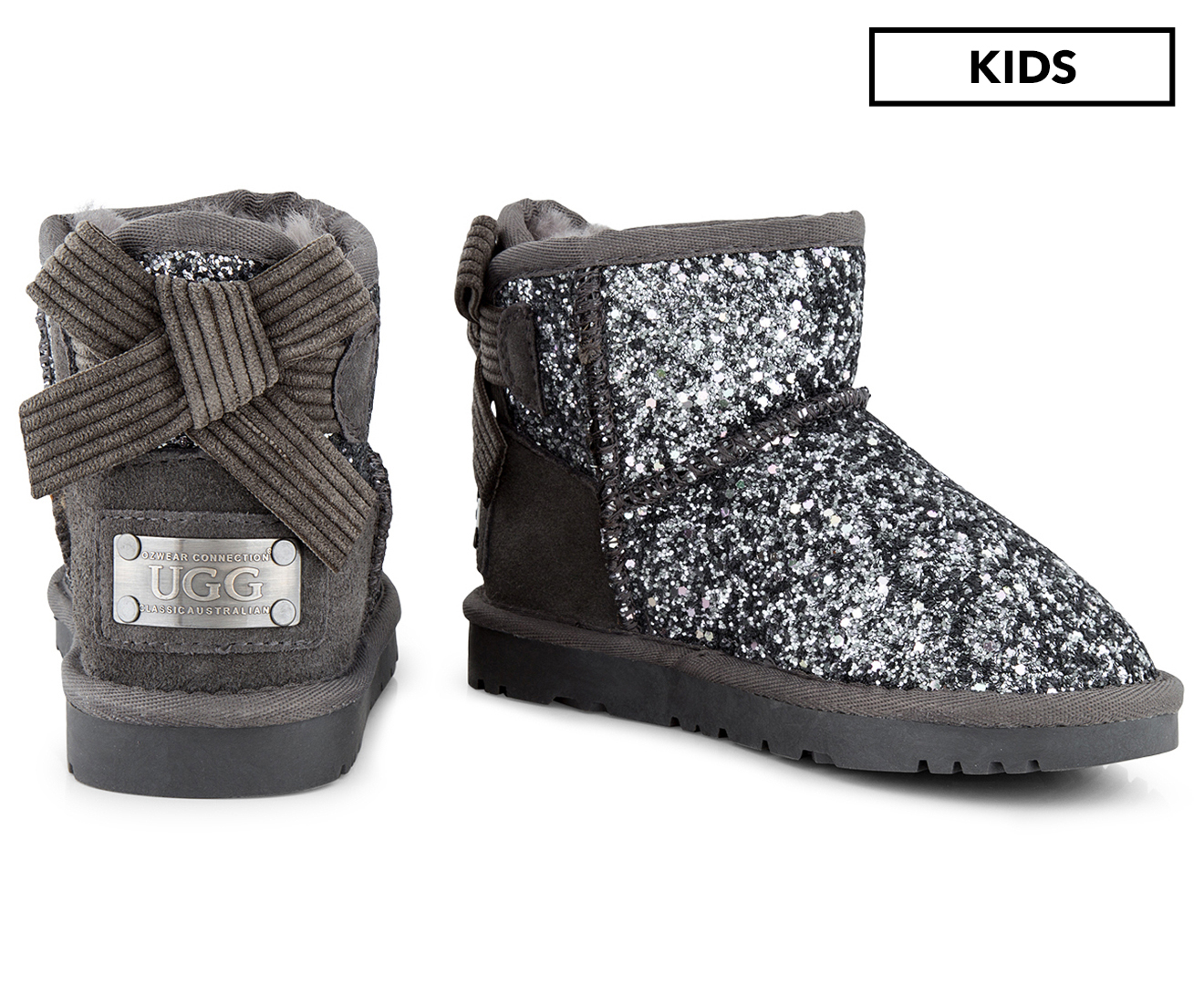 4d677178f37 Details about OZWEAR Connection Girls' Bailey Corduroy Bow Sparkling Ugg  Boot - Charcoal
