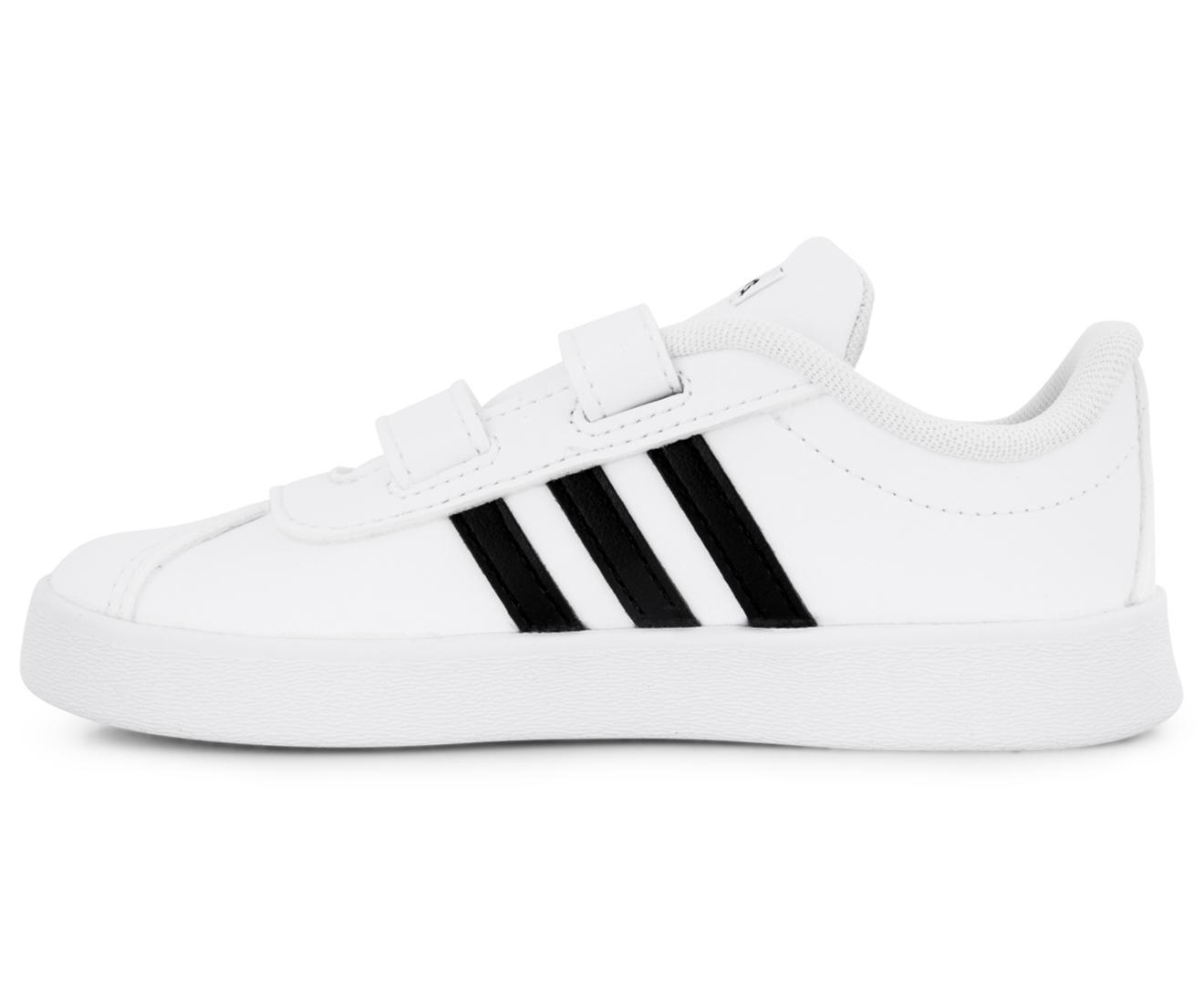 best service 599ec 48a92 Adidas Toddler VL Court 2.0 CMF I Shoe - Flat WhiteCore Black   Mumgo.com.au