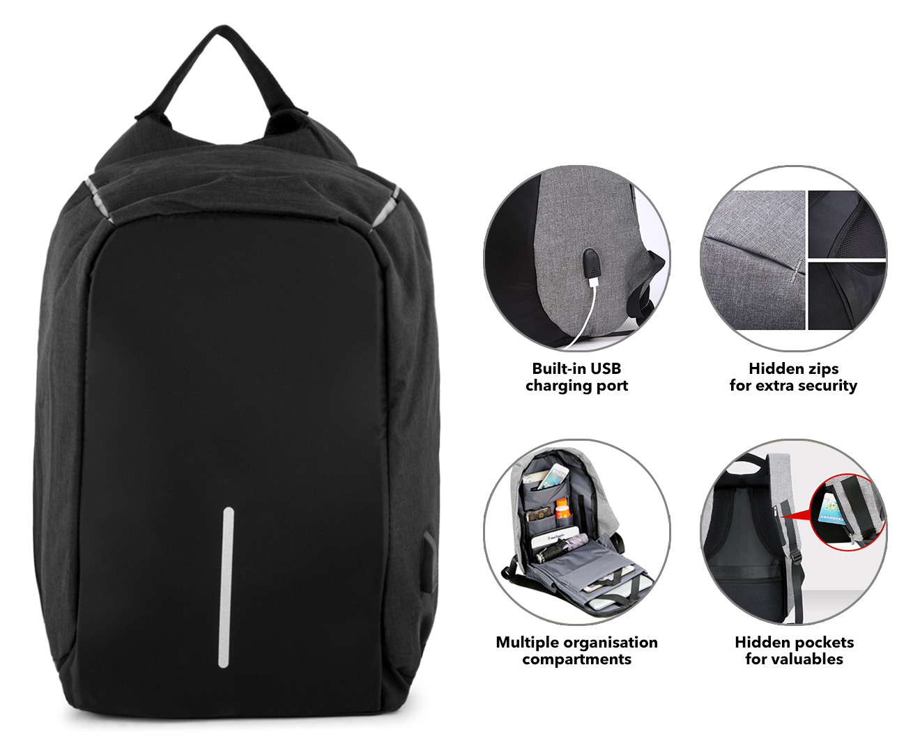 686aa12a2289 Details about Anti-Theft Backpack with USB Charging Port - Black