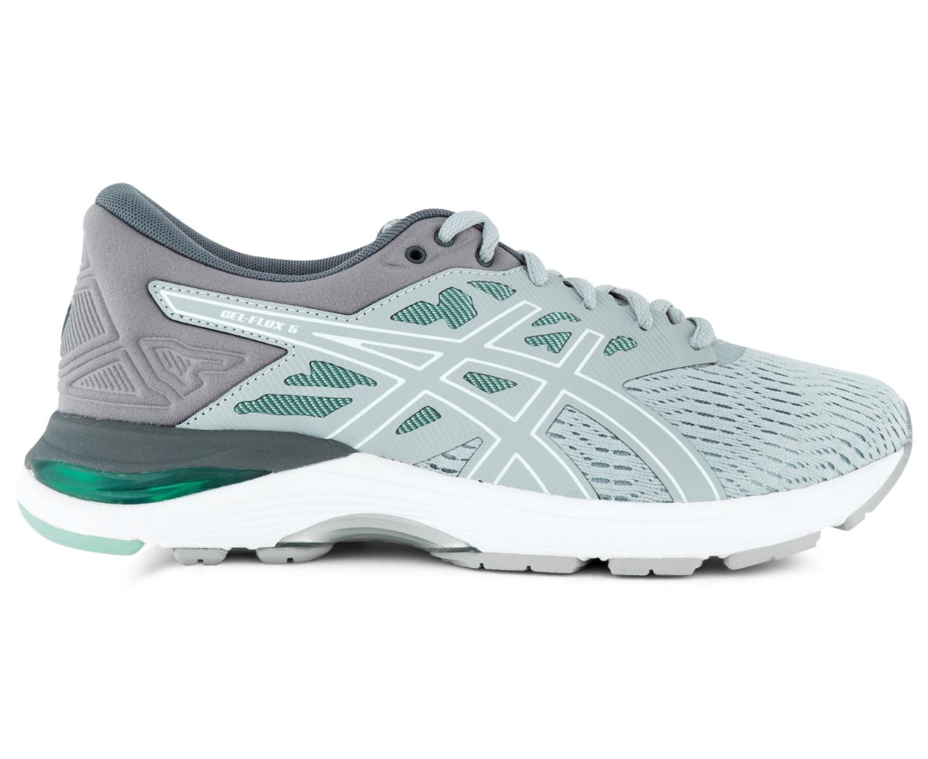 ASICS Women's GEL Flux 5 Wide Fit D Shoe Mid Grey/White/Opal Green