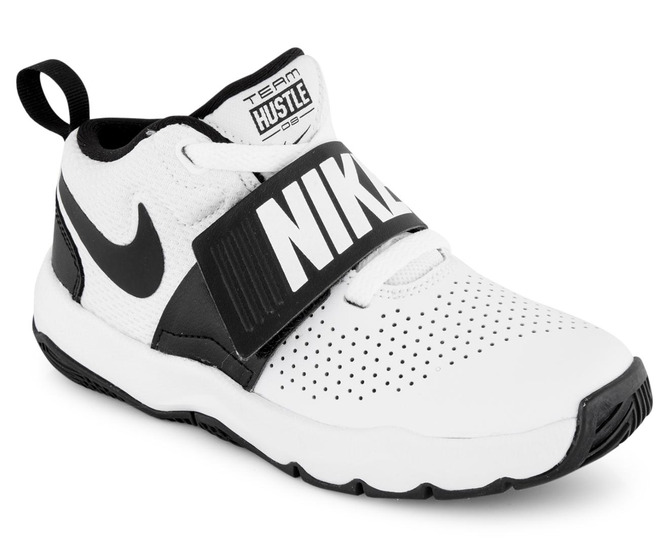 Nike Boys' Pre-School Team Hustle D 8 Shoe - White/Black