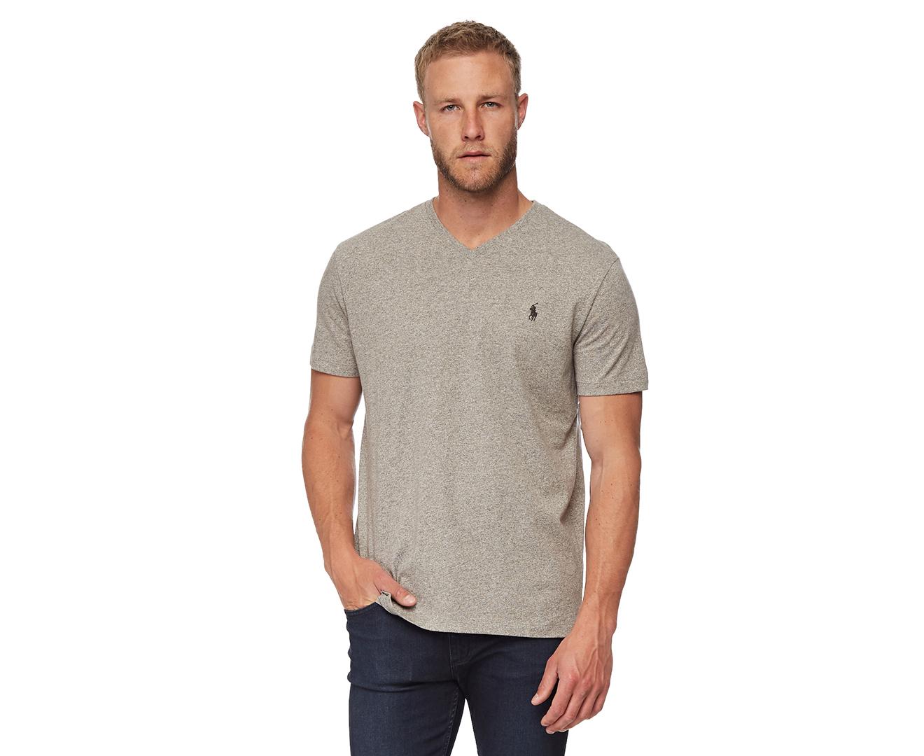 24e7eb5e Polo Ralph Lauren Men's Short Sleeve V-Neck Tee - Grey Heather | eBay
