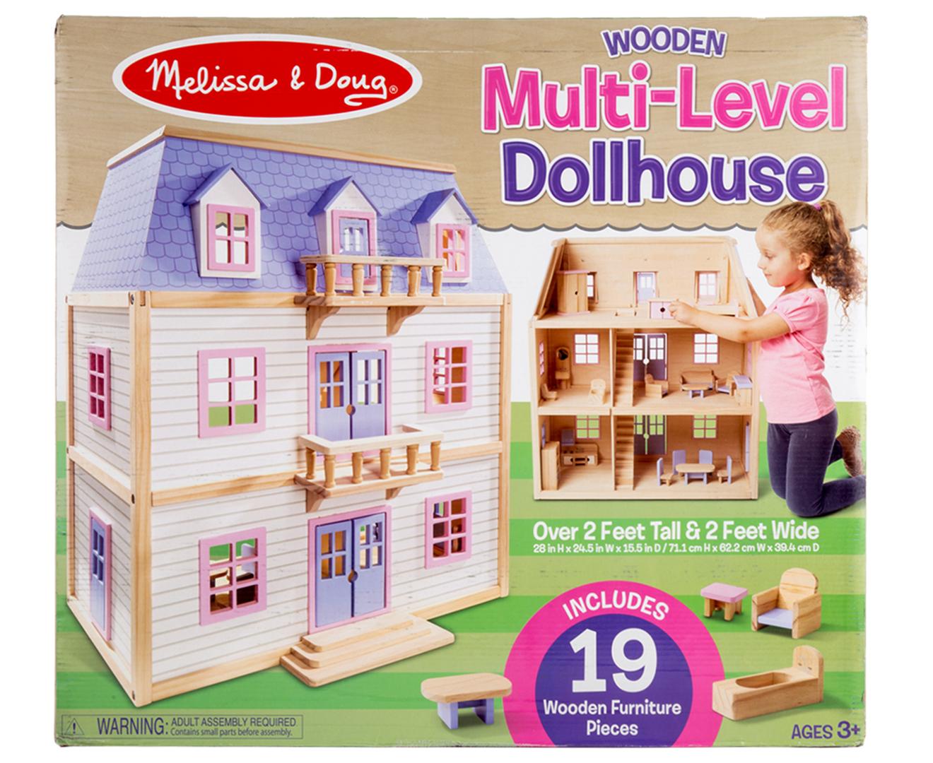 Melissa Doug Multi Level Wooden Dollhouse Catchcomau