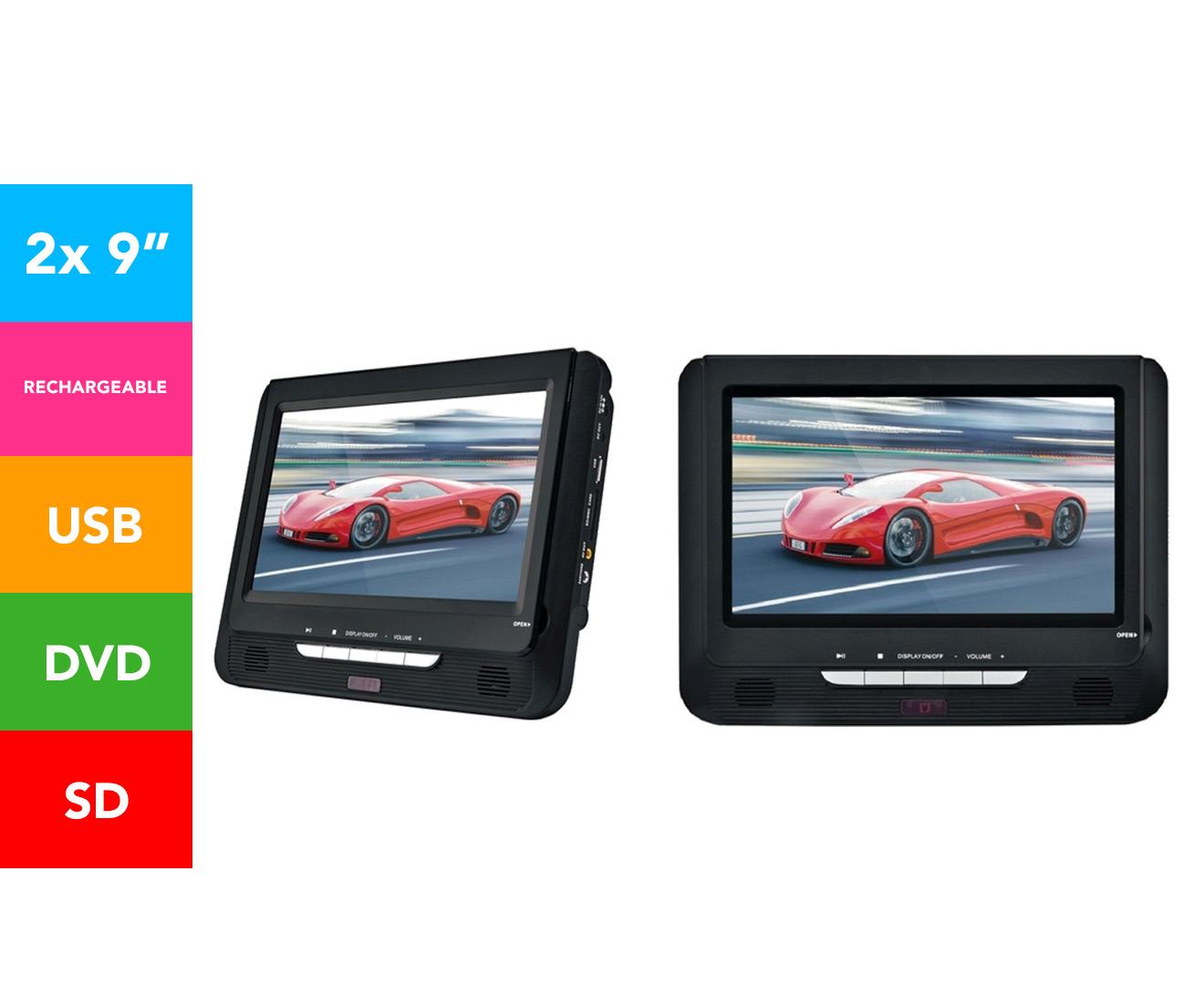 Protab 9 Inch Dual Screen In Car Portable DVD Player