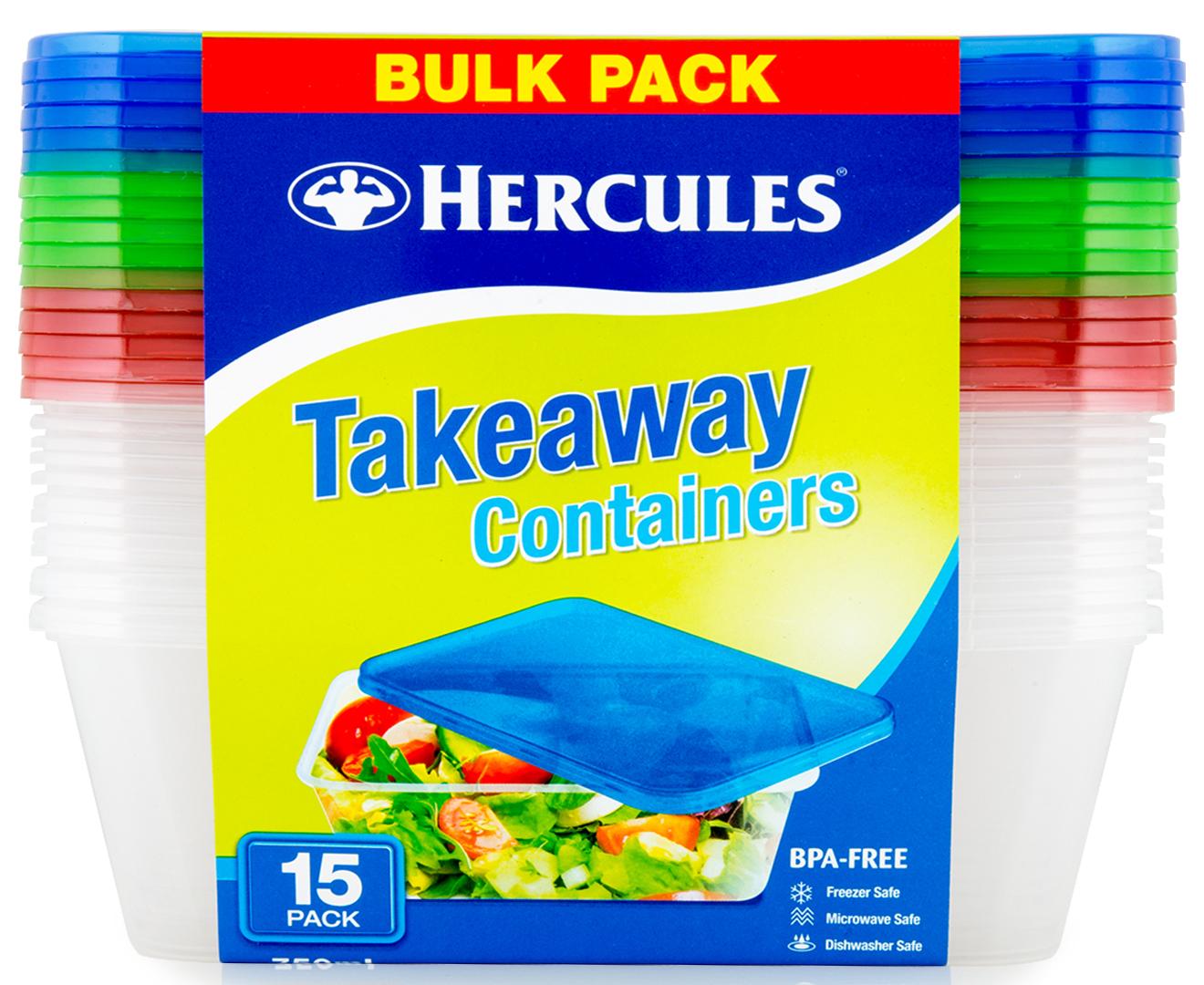 2 x 15pk Hercules Takeaway Containers 750mL - Multi