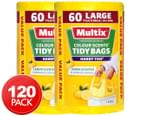 2 x 60pk Multix Large 34L Colour Scents Handy Ties Tidy Bags Lemon 1
