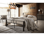 Modern Bed Frame w/ Metal + Wood Post in King Queen Double Single Size BLACK 1