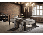 Modern Bed Frame w/ Metal + Wood Post in King Queen Double Single Size BLACK 2