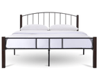 Modern Bed Frame w/ Metal + Wood Post in King Queen Double Single Size BLACK 3