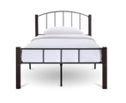 Modern Bed Frame w/ Metal + Wood Post in King Queen Double Single Size BLACK 4