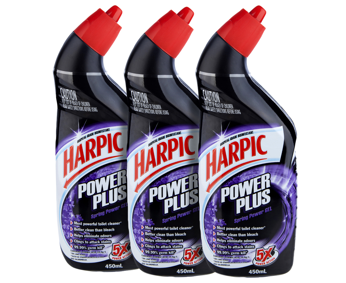 3 x Harpic Power Plus Spring Power Gel Toilet Cleaner 450mL ...