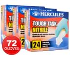 3 x Hercules Tough Task Nitrile Disposable Gloves 24pk 1