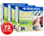 3 x Hercules Food Handling Vinyl Disposable Gloves 24pk 1