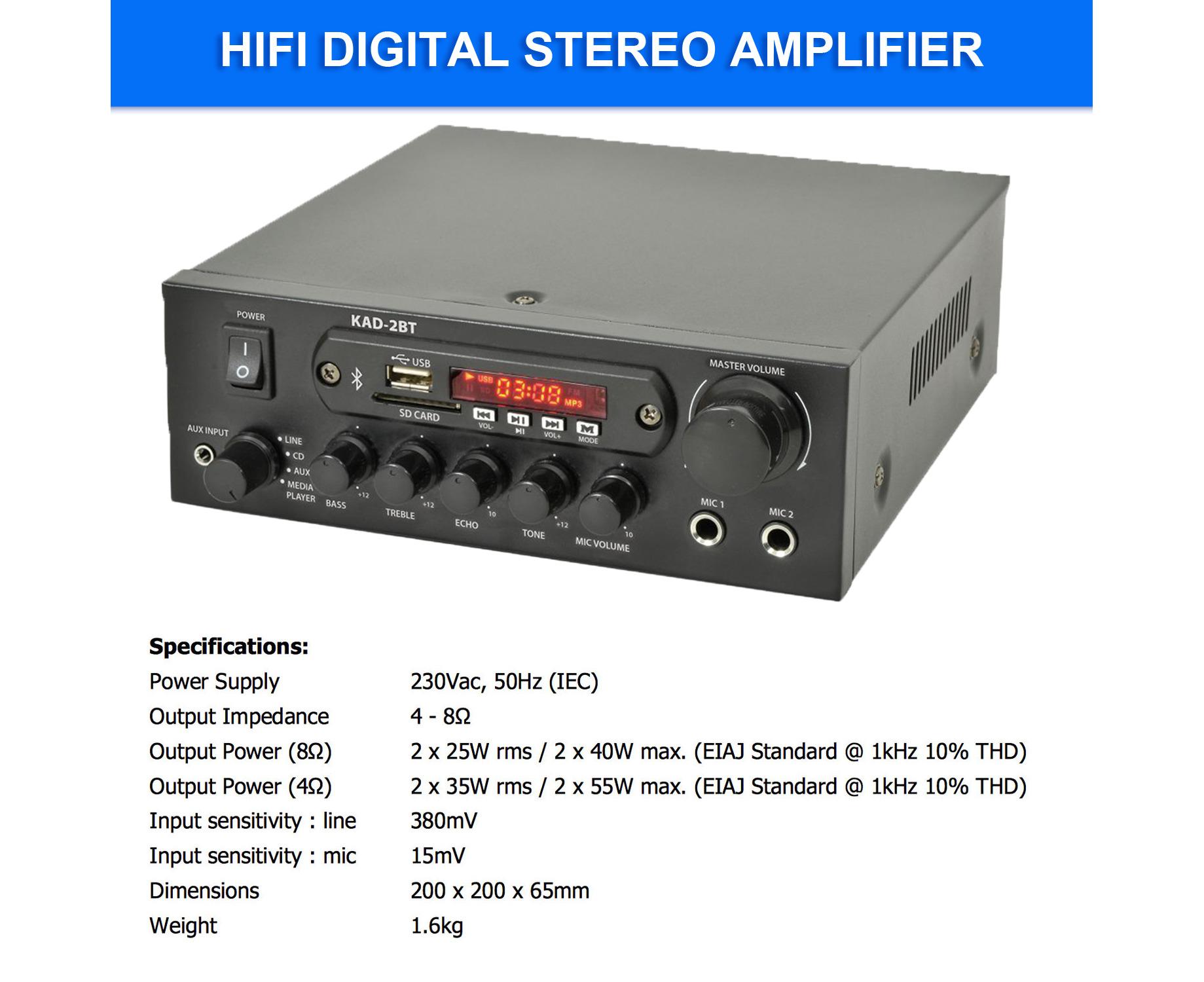 KAD-2BT DJ PA HiFi Digital Stereo Amplifier Bluetooth USB SD FM Class D  110W 2 x Mic