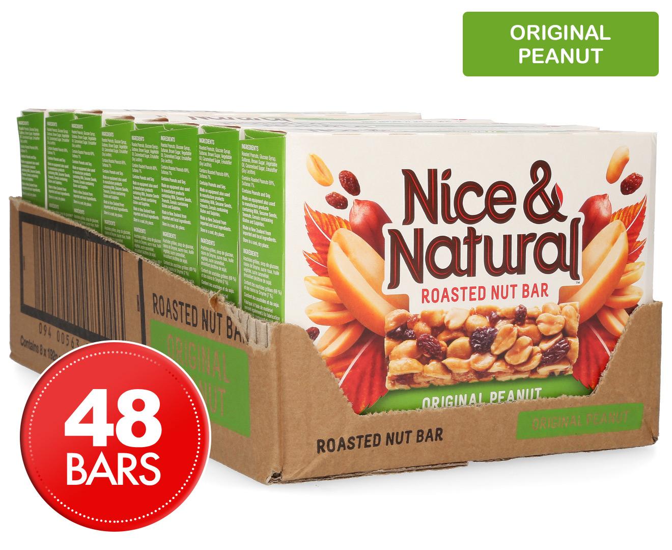 8 X Nice & Natural Roasted Nut Bar Original Peanut 192g