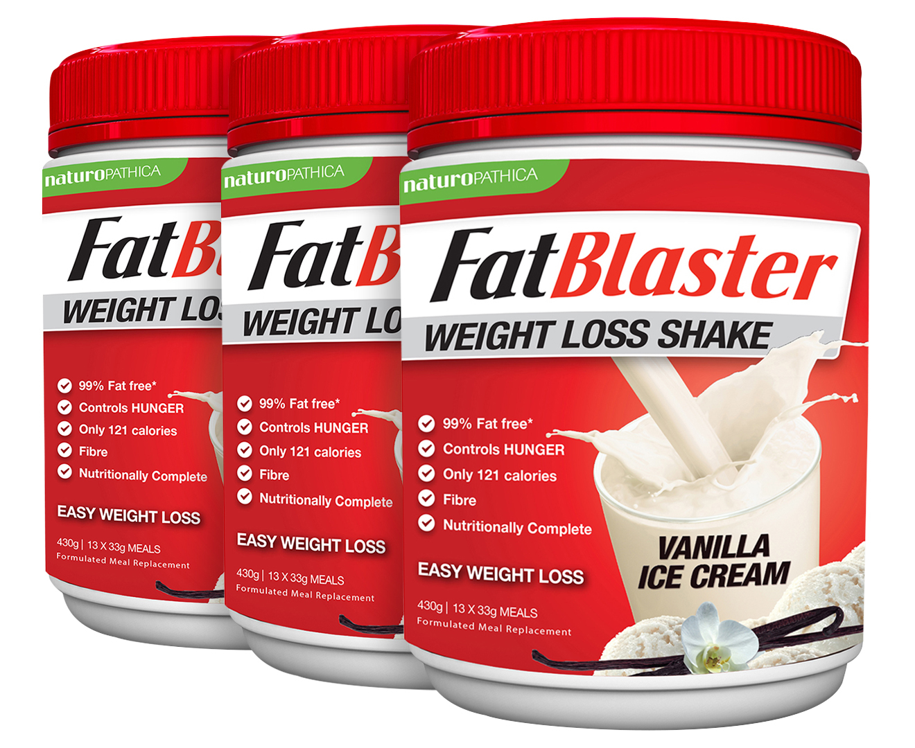3 X Naturopathica Fatblaster Weight Loss Vanilla Ice Cream Shake 430g