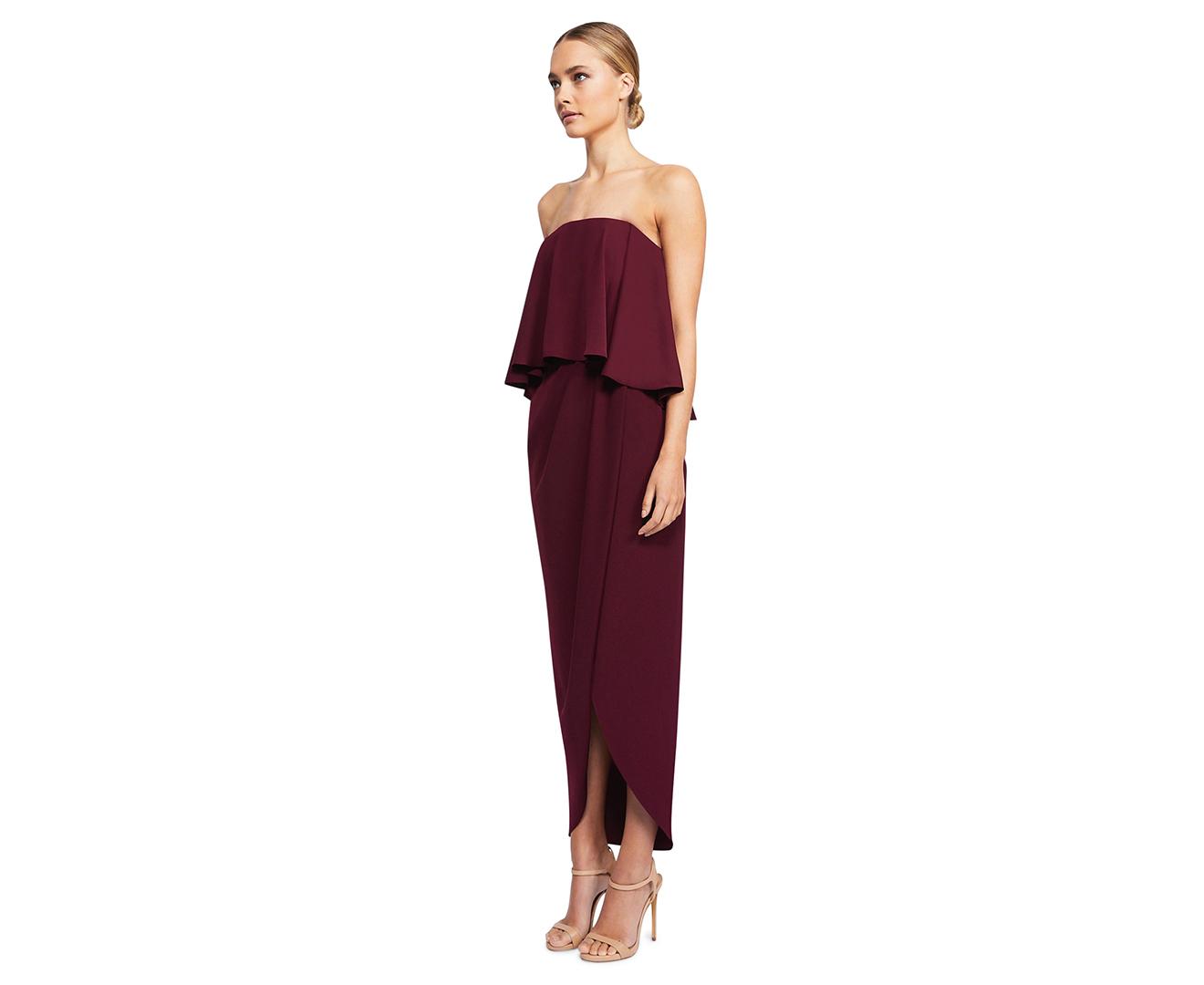 8d078197ff14 Shona Joy Women's Core Strapless Frill Dress - Aubergine | eBay