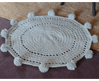 100% Handmade PomPom Acrylic Floor Rug Mat Green Grey 1