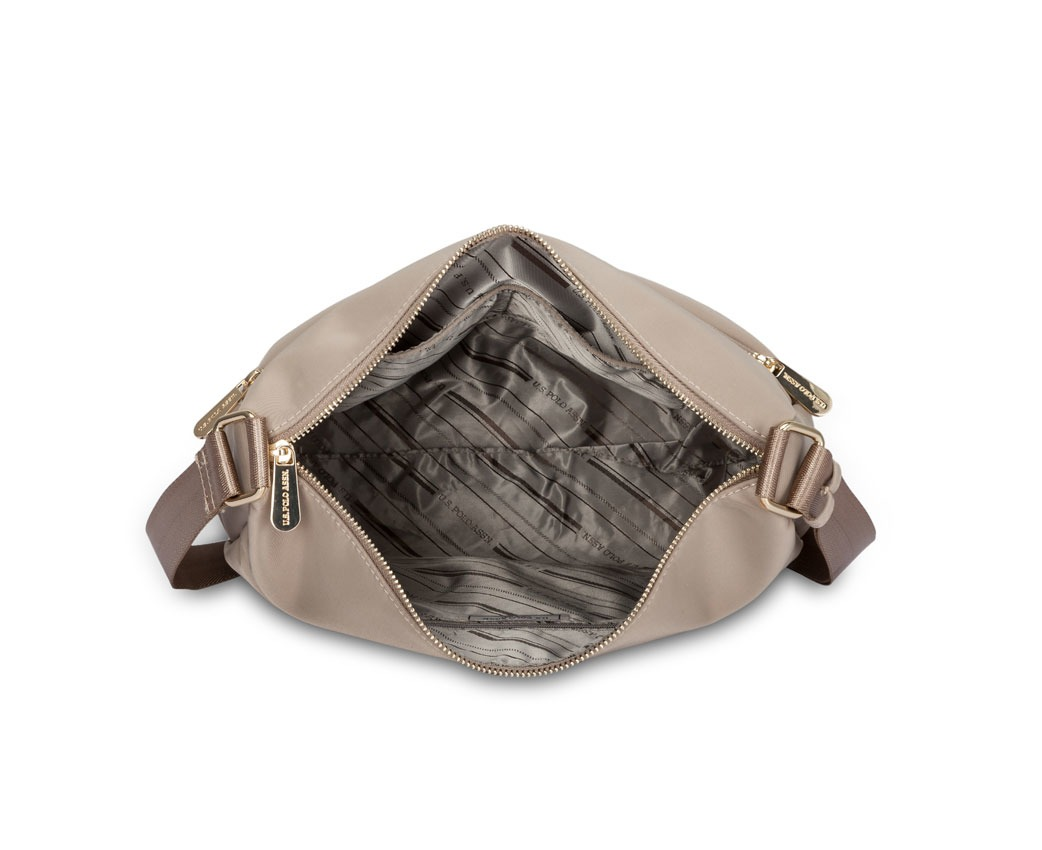 6bdbe09137f3 US POLO ASSN. Los Angeles Hobo Shoulder Bag Water Resistant Nylon Zipped  Closure Adjustable Strap - Beige