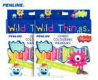 2 x Penline Wild Things Jumbo Colouring Markers 10-Pack - Multi 1