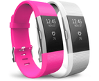 Yousave Fitbit Charge 2 Strap 2-Pack (Small) - Hot Pink/White 1