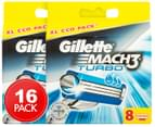 2 x Gillette Mach3 Turbo Razor Cartridges 8pk 1